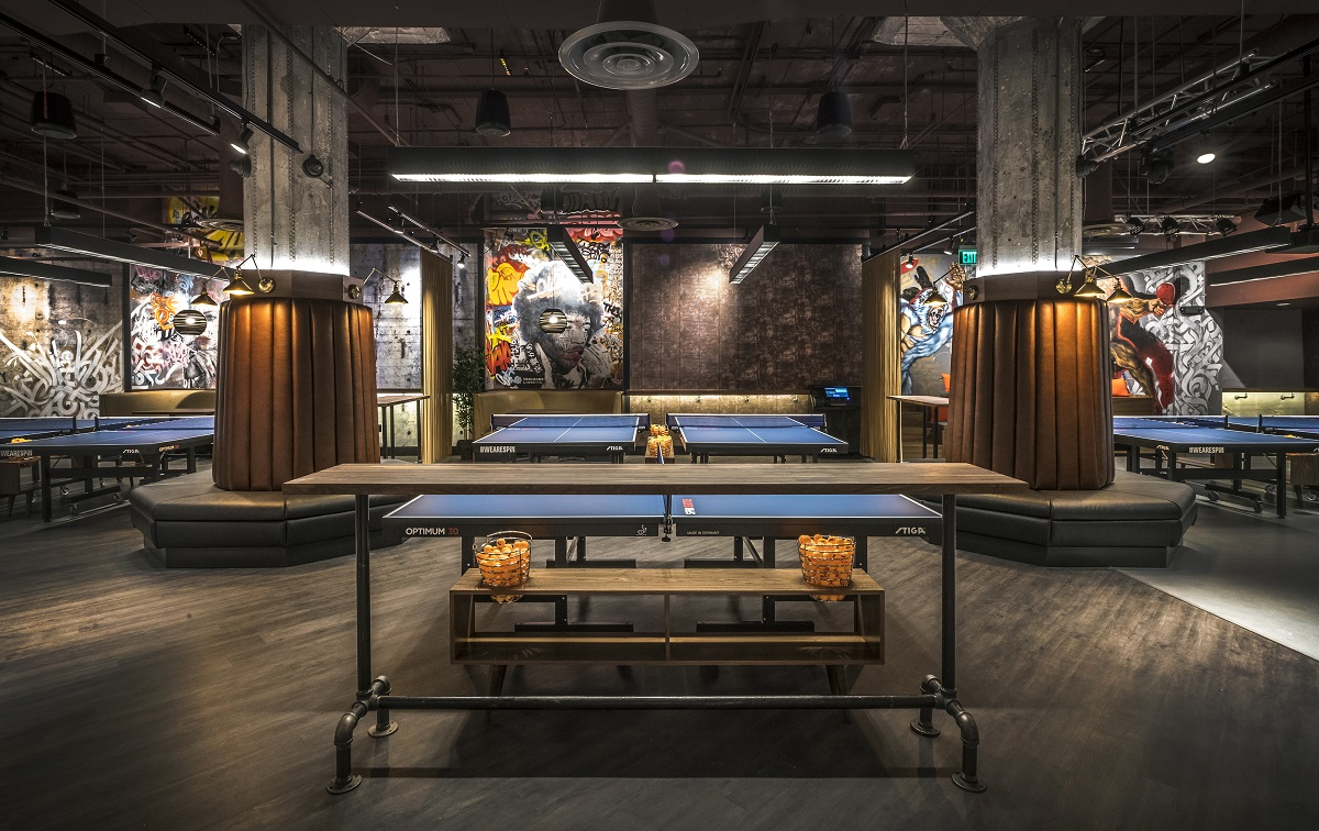 ARCO/Murray Entertainment Interiors Project: SPiN Ping Pong Playing Area